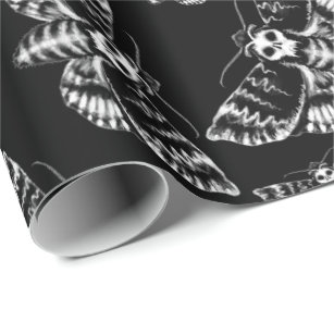 Black and Grey Deaths Head Hawk Moth Skull Gothic Wrapping Paper
