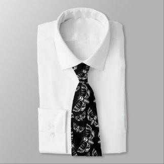 Black and Grey Deaths Head Hawk Moth Skull Pattern Neck Tie