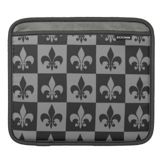 Black and Grey Fleur de lis Sleeves For iPads