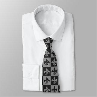 Black and Grey Fleur de lis Tie