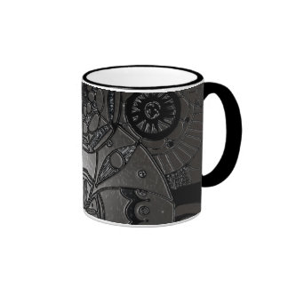 Black and grey floral embossed coffee mug