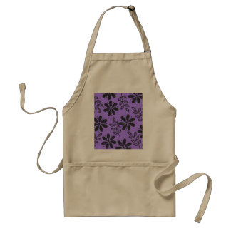 Black and Grey Floral, Purple Adult Apron