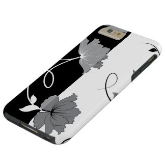 Black And Grey Flowers Tough iPhone 6 Plus Case