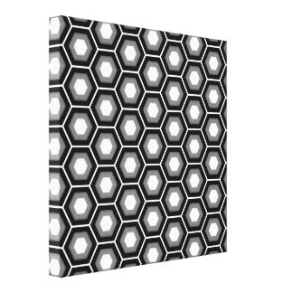 Black and Grey Hex Tiled Canvas