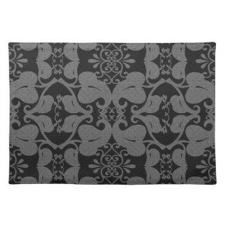 Black And Grey Modern Elegant Leaf Pattern Placemats