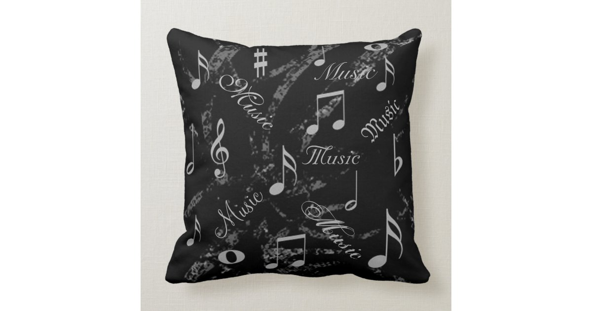 Decorative Pillows Black And Grey : Black and Grey Music Notes Throw Pillow Zazzle