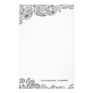 Black and Grey Paisley Personalized Stationery