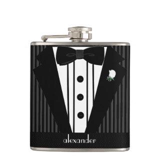 Black and Grey Pin Stripe Tuxedo-Wedding Hip Flask