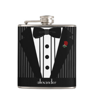 Black and Grey Pin Stripe Tuxedo-Wedding Flask