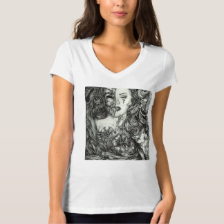 Black and grey pinup beauty T-Shirt