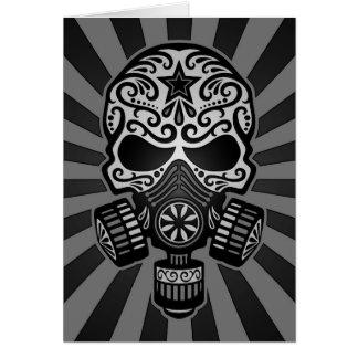 Black and Grey Post Apocalyptic Sugar Skull Card