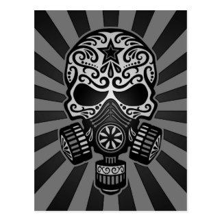 Black and Grey Post Apocalyptic Sugar Skull Postcard