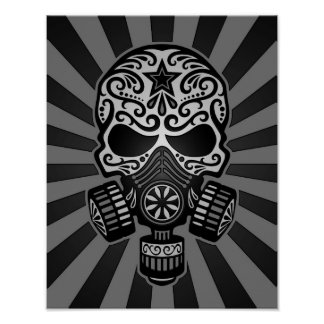 Black and Grey Post Apocalyptic Sugar Skull Posters