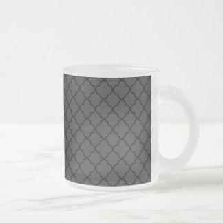 Black and Grey Quatrefoil Pattern 10 Oz Frosted Glass Coffee Mug