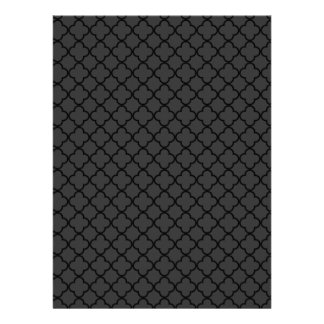 Black and Grey Quatrefoil Pattern Custom Invitation