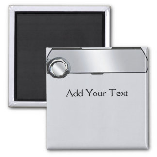 Black and Grey Rearview Mirror on Grey 2 Inch Square Magnet