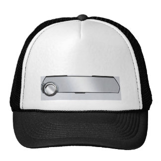 Black and Grey Rearview Mirror on Grey Mesh Hat