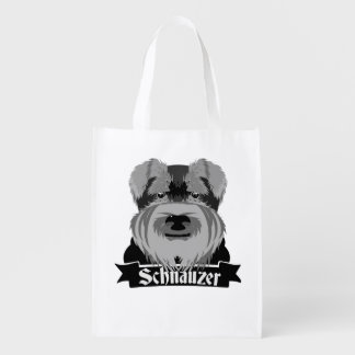 Black and Grey Schnauzer Reusable Grocery Bag