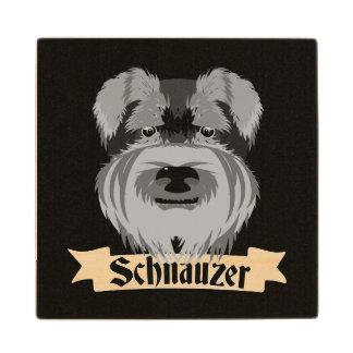 Black and Grey Schnauzer Wooden Coaster