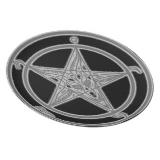 Black and Grey Shadow Baphomet Plate (Alter Center