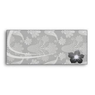 black and grey silver damask envelope
