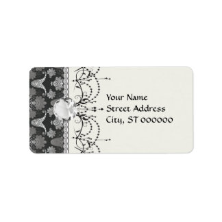 black and grey silver damask label