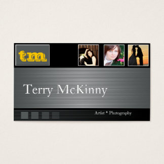 Black and Grey Stripes and Cubes Business Card