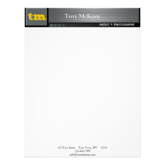 Black and Grey Stripes and Cubes Letterhead