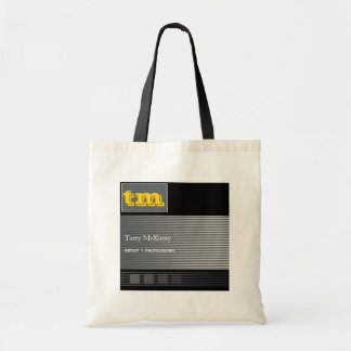 Black and Grey Stripes and Cubes Tote Bag