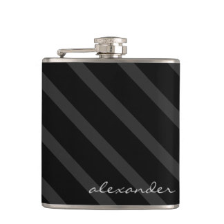Black and Grey Stripes-Groomsmen Flask