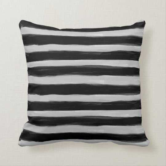 Black and Grey Stripes Throw Pillow