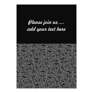 Black and Grey Swirling Vines Pattern 5x7 Paper Invitation Card