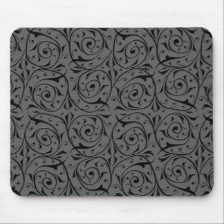Black and Grey Swirling Vines Pattern Mouse Pad