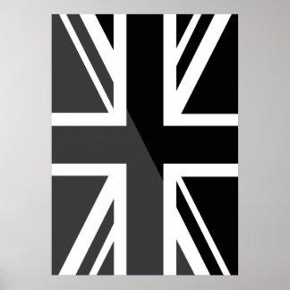 Black and grey Union Jack British(UK) Flag Posters