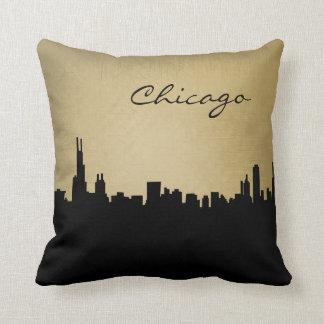 Black and Grunge Chicago Landmark Pillow