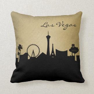 Black and Grunge Las Vegas Skyline Throw Pillow