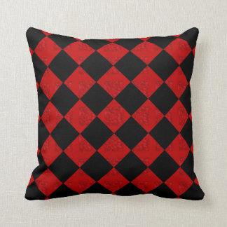 Black and hombre red checker pattern throw pillow