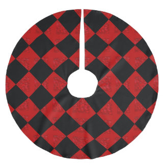 Black and hombre red diamond checker pattern brushed polyester tree skirt