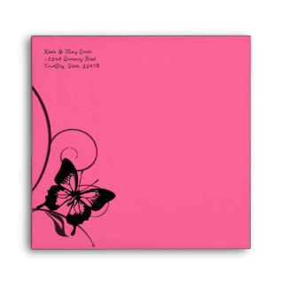 Black and Hot Pink Butterfly Envelope