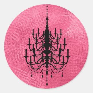 Black and Hot Pink Chandelier Wedding Seal Classic Round Sticker