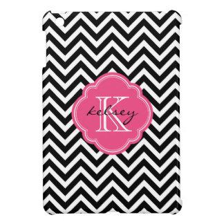 Black and Hot Pink Chevron Custom Monogram Case For The iPad Mini