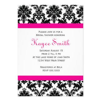 Black and hot Pink Damask Invitation