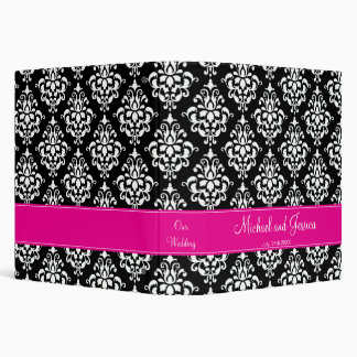 Black and Hot Pink Damask Personalized Wedding Binder