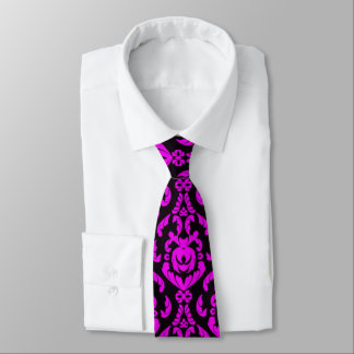 Black and Hot Pink Damask Tie