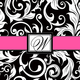 Black and Hot Pink Damask Wedding Invitations invitation