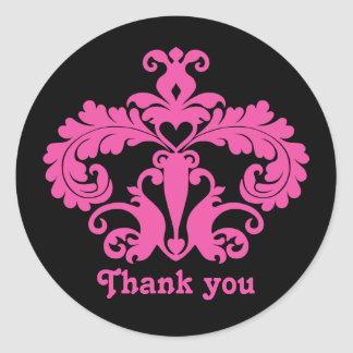 Black and hot pink elegant thank you classic round sticker