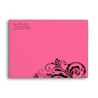 Black and Hot Pink Floral Chic Envelope