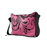Black and Hot Pink Floral Chic Messenger Bag