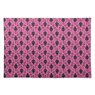 Black and Hot Pink Fuchsia Floral Damask Pattern Cloth Placemat