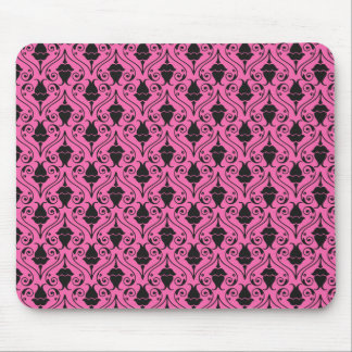 Black and Hot Pink Fuchsia Floral Damask Pattern Mouse Pad